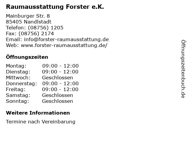 Raumausstattung Forster in Nandlstadt: Adresse und Öffnungszeiten