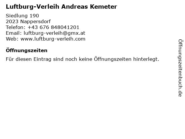Luftburg-Verleih Andreas Kemeter in Nappersdorf: Adresse und Öffnungszeiten