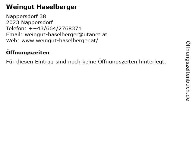 Weingut Haselberger in Nappersdorf: Adresse und Öffnungszeiten