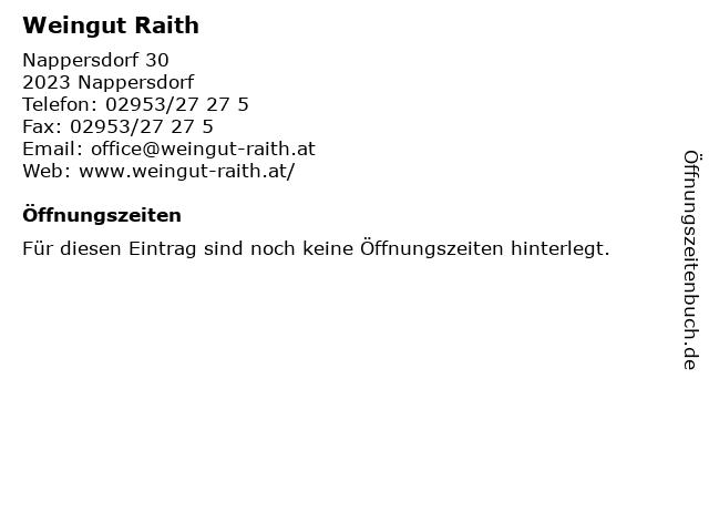 Weingut Raith in Nappersdorf: Adresse und Öffnungszeiten