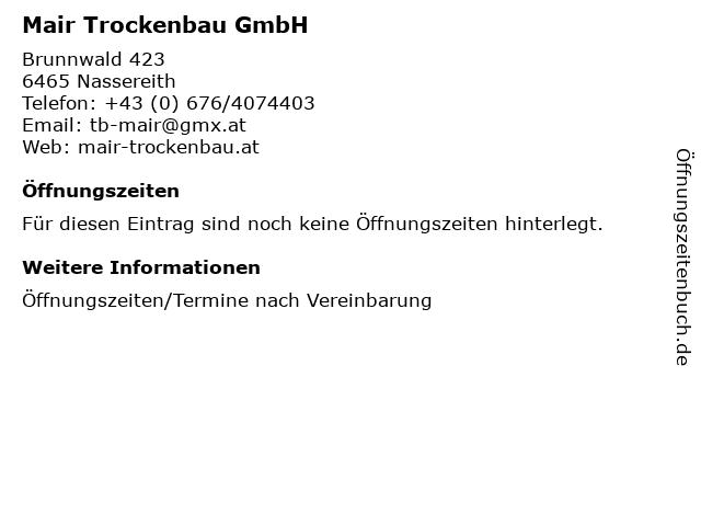 Mair Trockenbau GmbH in Nassereith: Adresse und Öffnungszeiten