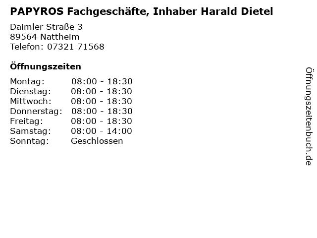 PAPYROS Fachgeschäfte, Inhaber Harald Dietel in Nattheim: Adresse und Öffnungszeiten