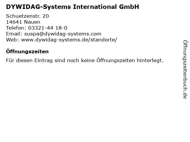 DYWIDAG-Systems International GmbH in Nauen: Adresse und Öffnungszeiten