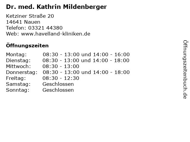 Dr. med. Kathrin Mildenberger in Nauen: Adresse und Öffnungszeiten