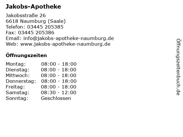 Jakobs-Apotheke in Naumburg (Saale): Adresse und Öffnungszeiten