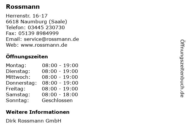 Rossmann in Naumburg (Saale): Adresse und Öffnungszeiten