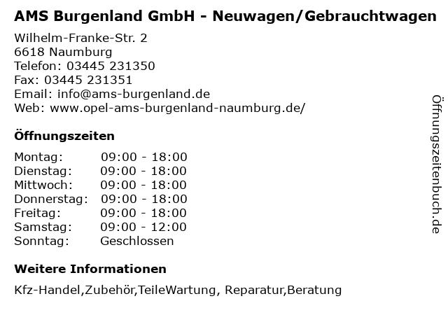 AMS Burgenland GmbH - Neuwagen/Gebrauchtwagen in Naumburg: Adresse und Öffnungszeiten