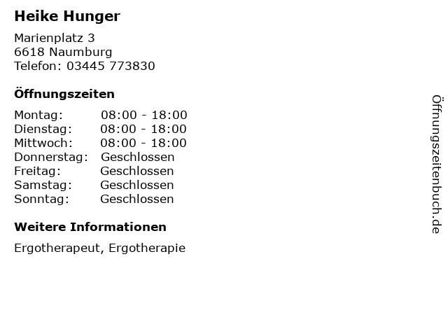 Heike Hunger in Naumburg: Adresse und Öffnungszeiten
