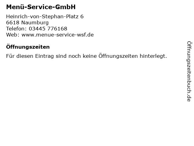Menü-Service-GmbH in Naumburg: Adresse und Öffnungszeiten