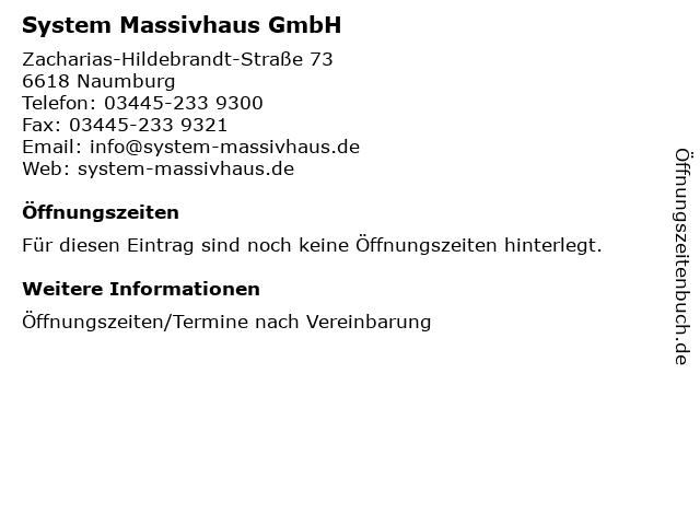 System Massivhaus GmbH in Naumburg: Adresse und Öffnungszeiten