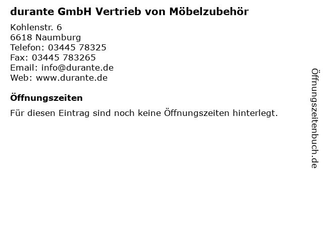 durante GmbH Vertrieb von Möbelzubehör in Naumburg: Adresse und Öffnungszeiten