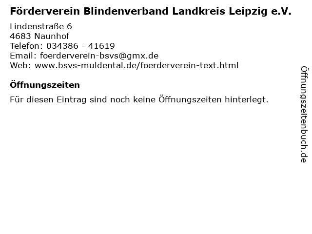 Förderverein Blindenverband Landkreis Leipzig e.V. in Naunhof: Adresse und Öffnungszeiten