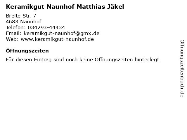 Keramikgut Naunhof Matthias Jäkel in Naunhof: Adresse und Öffnungszeiten