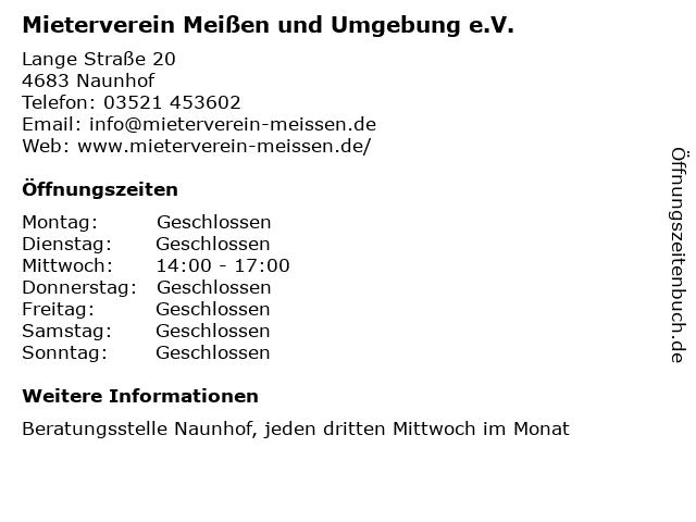 Mieterverein Meißen und Umgebung e.V. in Naunhof: Adresse und Öffnungszeiten