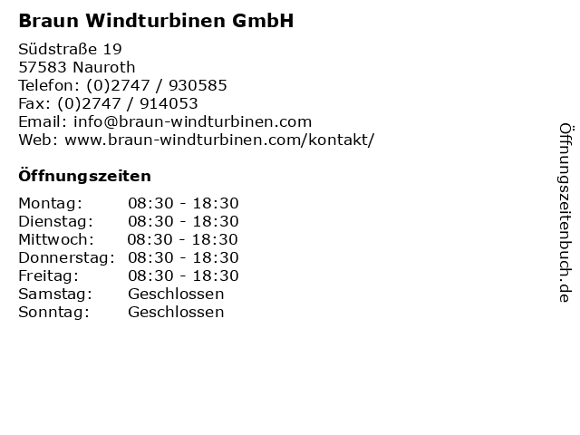 Braun Windturbinen GmbH in Nauroth: Adresse und Öffnungszeiten