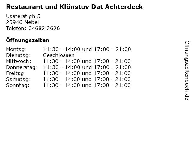 Restaurant und Klönstuv Dat Achterdeck in Nebel: Adresse und Öffnungszeiten