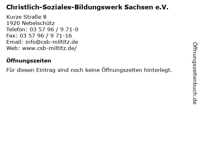 Christlich-Soziales-Bildungswerk Sachsen e.V. in Mildenau: Adresse und Öffnungszeiten
