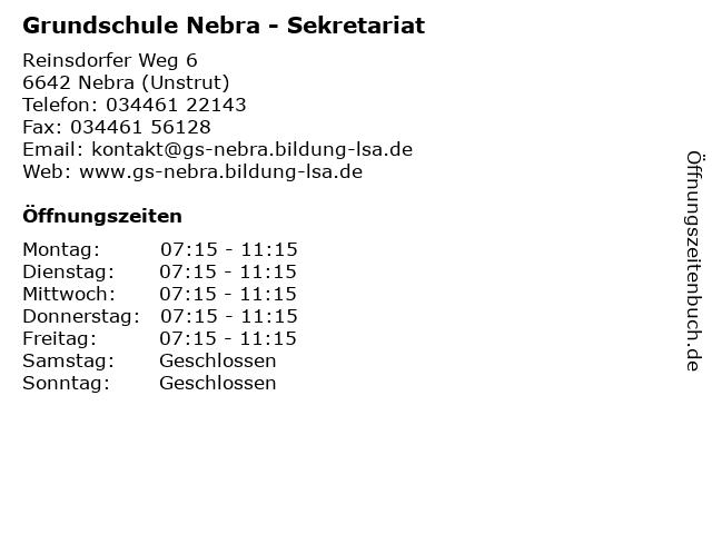Grundschule Nebra - Sekretariat in Nebra (Unstrut): Adresse und Öffnungszeiten