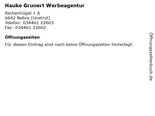 Hauke Grunert Werbeagentur in Nebra (Unstrut): Adresse und Öffnungszeiten