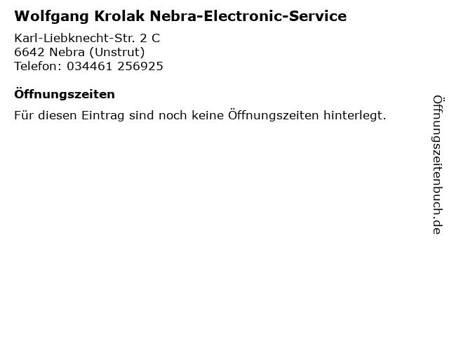 Wolfgang Krolak Nebra-Electronic-Service in Nebra (Unstrut): Adresse und Öffnungszeiten