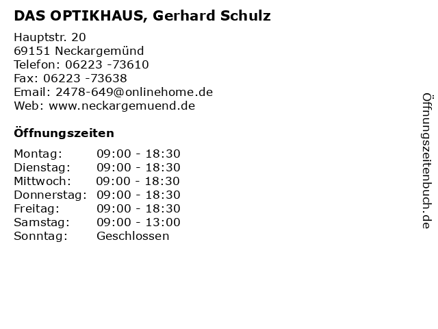 DAS OPTIKHAUS, Gerhard Schulz in Neckargemünd: Adresse und Öffnungszeiten
