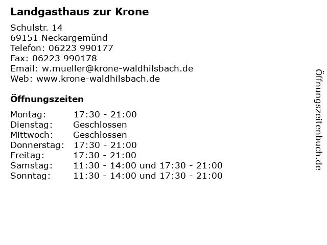 Landgasthaus zur Krone in Neckargemünd: Adresse und Öffnungszeiten