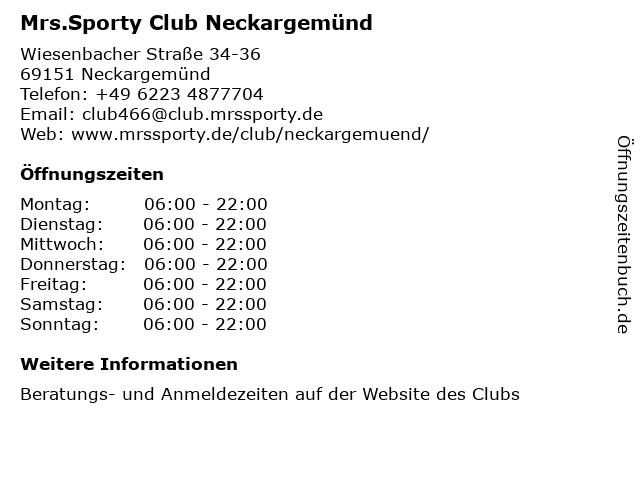 Mrs.Sporty Club Neckargemünd in Neckargemünd: Adresse und Öffnungszeiten