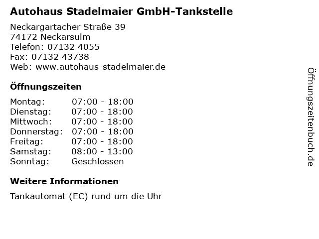 Autohaus Stadelmaier GmbH-Tankstelle in Neckarsulm: Adresse und Öffnungszeiten