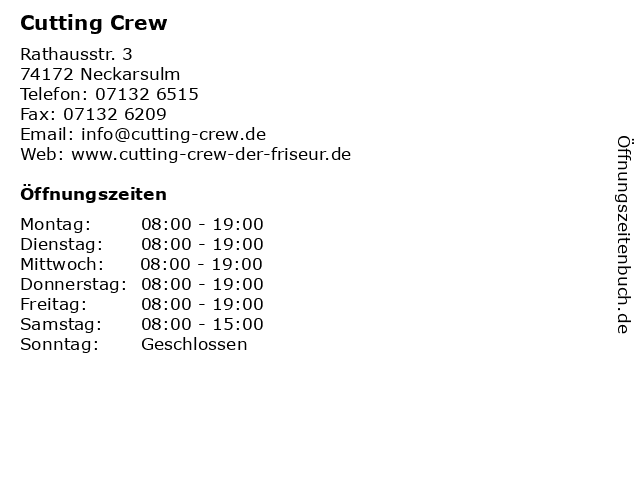 ᐅ öffnungszeiten Cutting Crew Rathausstr 3 In Neckarsulm