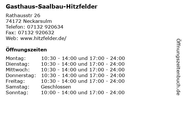 Gasthaus-Saalbau-Hitzfelder in Neckarsulm: Adresse und Öffnungszeiten