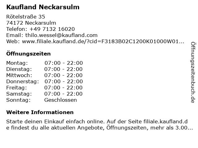 Kaufland Neckarsulm in Neckarsulm: Adresse und Öffnungszeiten