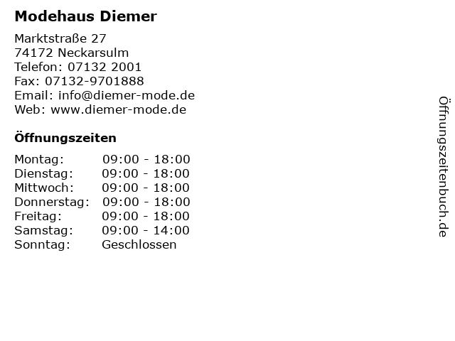 Modehaus Diemer in Neckarsulm: Adresse und Öffnungszeiten