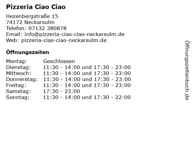 Pizzeria Ciao Ciao in Neckarsulm: Adresse und Öffnungszeiten