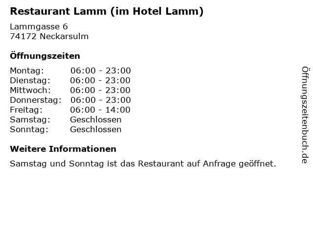 Restaurant Lamm (im Hotel Lamm) in Neckarsulm: Adresse und Öffnungszeiten