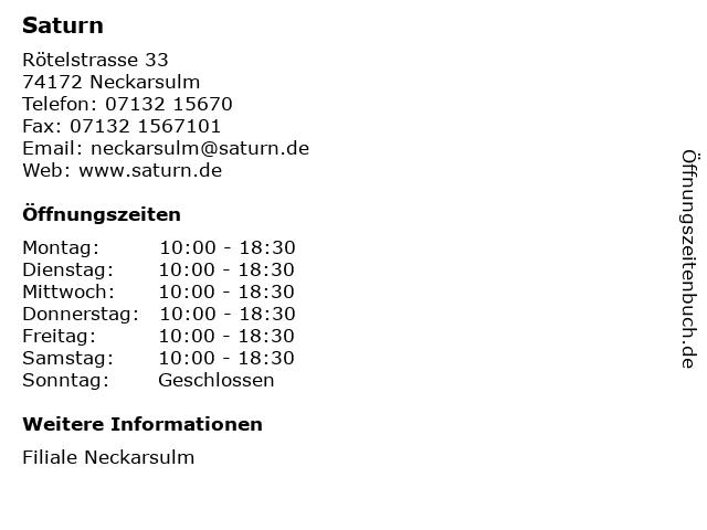 Saturn in Neckarsulm: Adresse und Öffnungszeiten