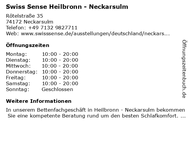 Swiss Sense Flagship Store in Neckarsulm: Adresse und Öffnungszeiten