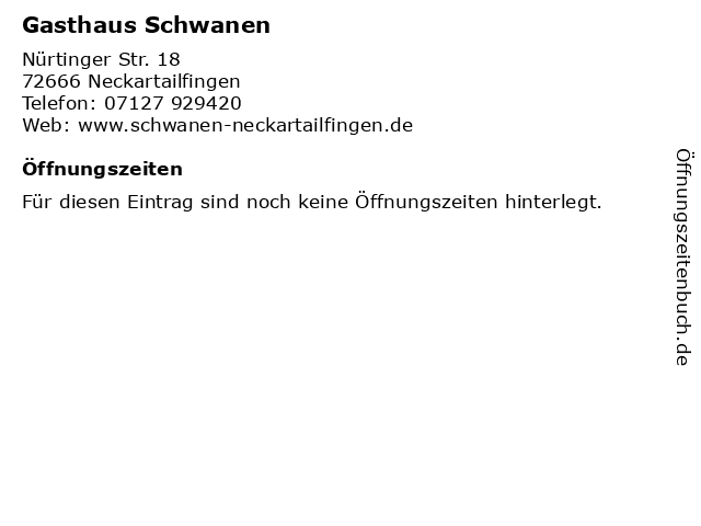 Gasthaus Schwanen in Neckartailfingen: Adresse und Öffnungszeiten