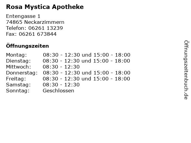 Rosa Mystica Apotheke in Neckarzimmern: Adresse und Öffnungszeiten