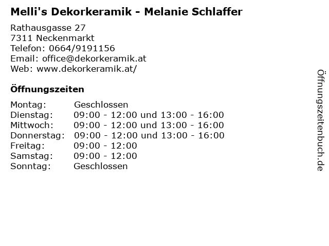 Melli's Dekorkeramik - Melanie Schlaffer in Neckenmarkt: Adresse und Öffnungszeiten