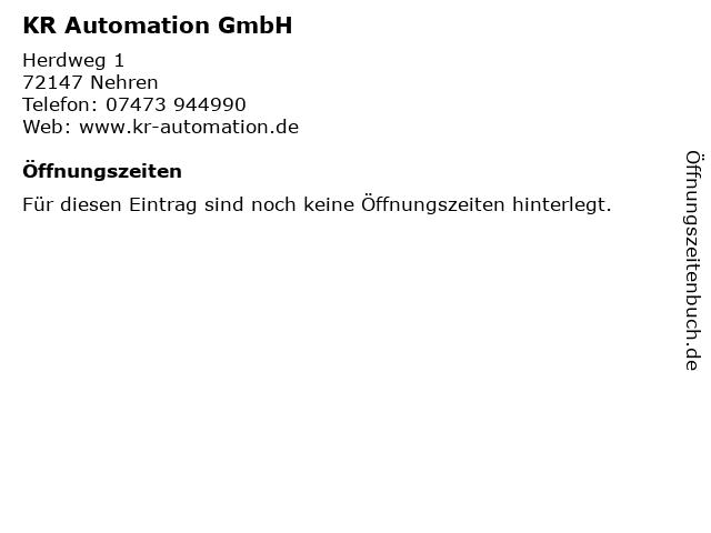 KR Automation GmbH in Nehren: Adresse und Öffnungszeiten
