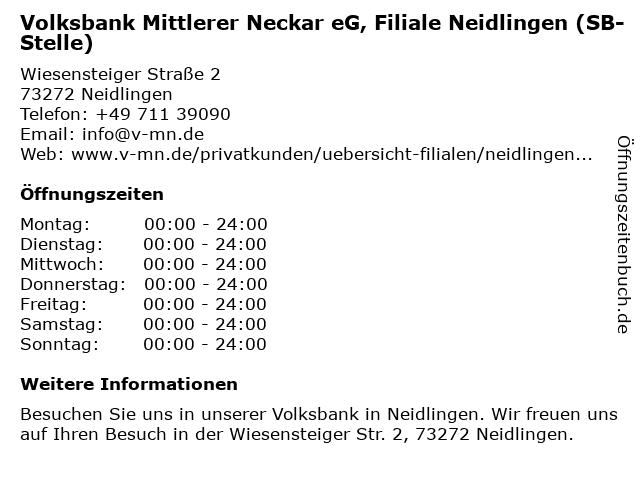Geldautomat VR Bank Hohenneuffen-Teck eG in Neidlingen: Adresse und Öffnungszeiten