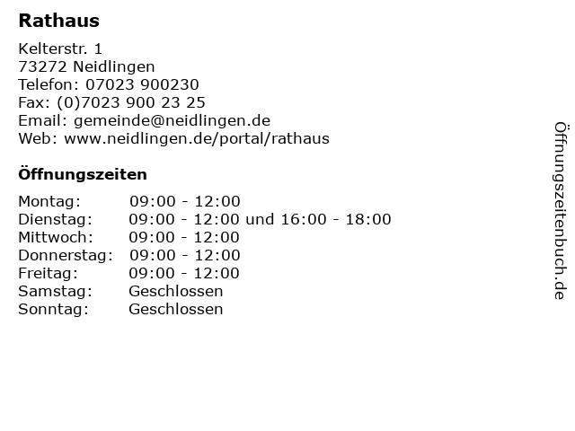 Rathaus in Neidlingen: Adresse und Öffnungszeiten