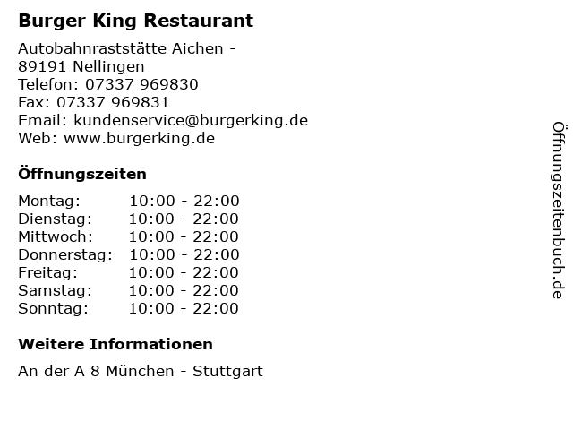 Burger King Restaurant in Nellingen: Adresse und Öffnungszeiten