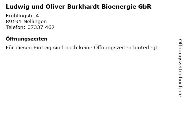Ludwig und Oliver Burkhardt Bioenergie GbR in Nellingen: Adresse und Öffnungszeiten