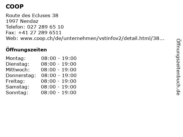 COOP in Nendaz: Adresse und Öffnungszeiten