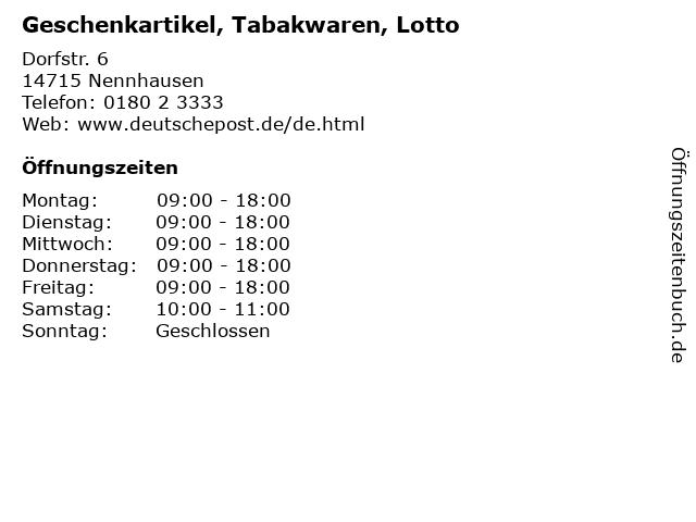 Geschenkartikel, Tabakwaren, Lotto in Nennhausen: Adresse und Öffnungszeiten