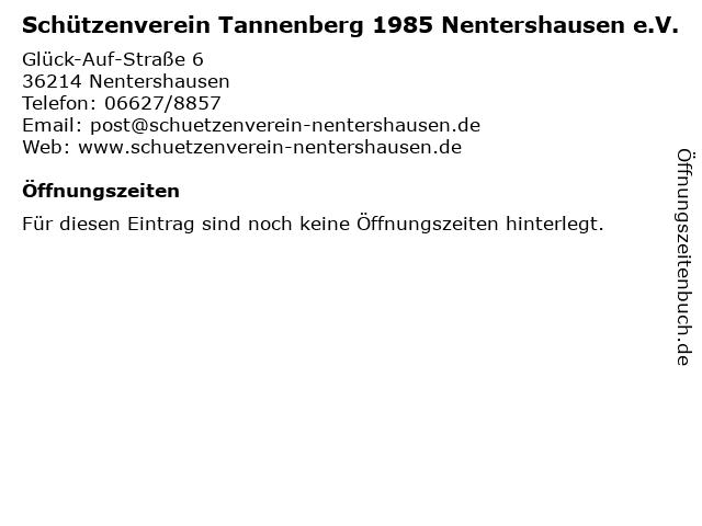 Schützenverein Tannenberg 1985 Nentershausen e.V. in Nentershausen: Adresse und Öffnungszeiten