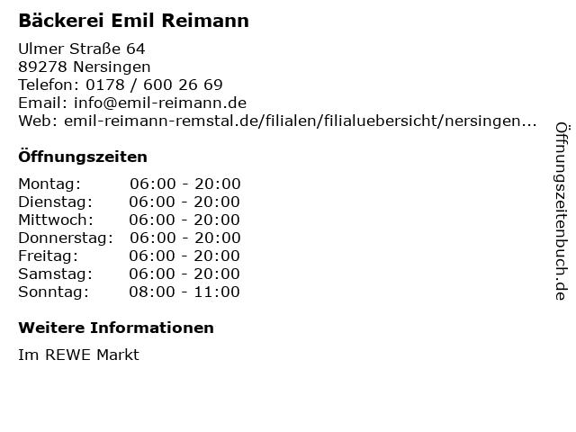 Bäckerei Emil in Nersingen: Adresse und Öffnungszeiten