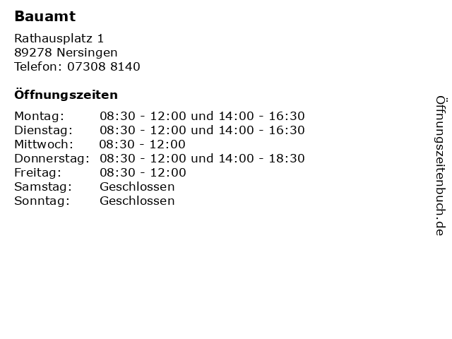 Bauamt in Nersingen: Adresse und Öffnungszeiten