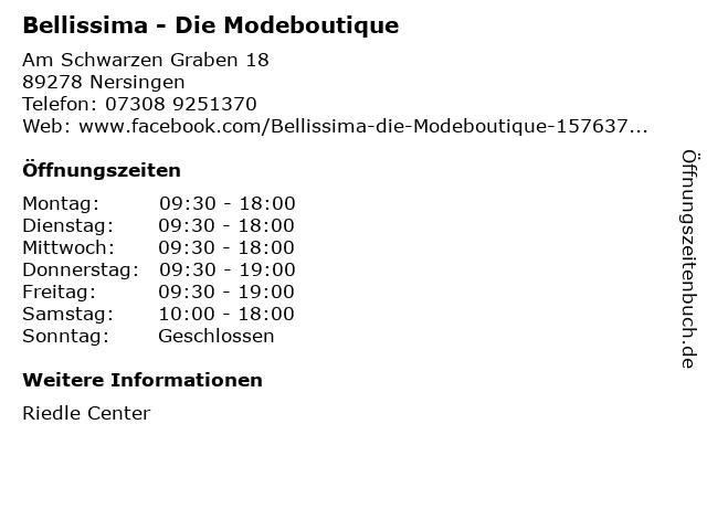 Bellissima - Die Modeboutique in Nersingen: Adresse und Öffnungszeiten